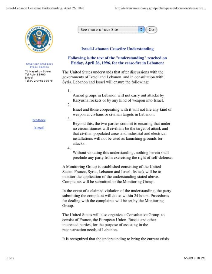 DOCUMENT - Israel-Lebanon Ceasefire Understanding, April 26, 1996
